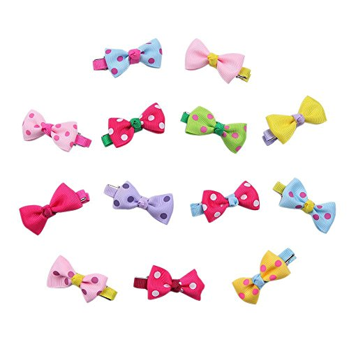 Lameida - 12 fermagli colorati per capelli a forma di fiocco, per bambine e ragazze, accessorio per capelli