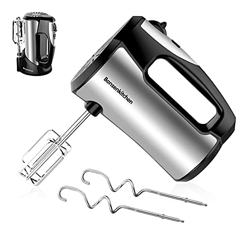 Electric Hand Mixer 5-Speed,300W Turbo Handheld Mixer with Eject Function,Storage Case and 4 Stainless Steel Accessories for Whipping Mixing Cookies, Brownies, Cakes, Dough Batters