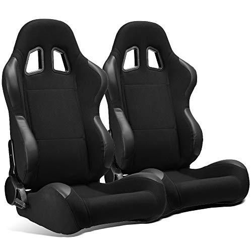ModifyStreet 1 Pair Universal Black Pineapple Fabric/PVC Leather Racing Bucket Seats