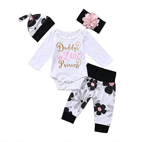 MA&BABY Newborn Kids Baby Boy Girl Cotton Tops Romper Pants Hat 3Pcs Outfits Set Clothes (0-3 Months, Daddy's Princess Long Sleeve)