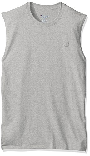 Champion Men's Classic Jersey Muscle T-Shirt, Oxford Gray, XL