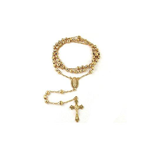 """Collar de 24"""" rosario con cruz, bañado en oro de 18 ct"""
