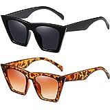 HILBALM 2 Pack Sunglasses for Women Classic Retro Designer Style Vintage Frame Glasses (Black frame-gray lens/Leopard Frame-Brown Lens)