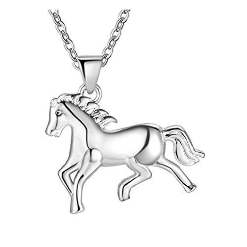 Verzilverd Paard Ketting Grootte 1.7 x 2.1cm Hanger