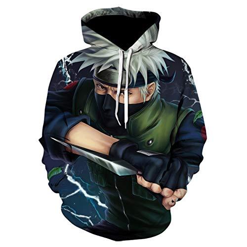 NO BRAND Sudadera con Capucha del Animado de Naruto Kakashi Sudaderas con Capucha de Invierno con Capucha de Hip Hop Animado Elementos Sudaderas Naruto 3D Sudaderas Hombre Streetwear (Size : XXL)