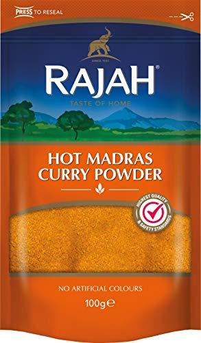 Rajah Hot Madras Currypulver – Aromatische Gewürzmischung mit intensiver Schärfe – 1 x 100 g