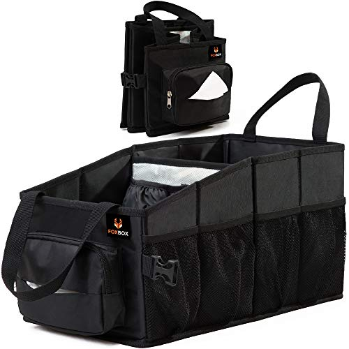 Tote Car Organizer Front Seat | Tissue Box & Cup Holder | Back Seat Car Organizer Between Seats | Passenger Seat Floor Organizer under Seat | Backseat Police Storage Container