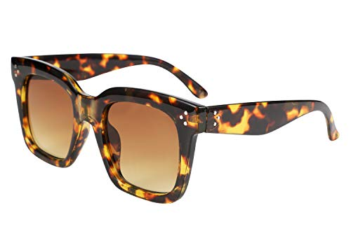 FEISEDY Damen Vintage Schmetterlings-Sonnenbrille Designer Quadrat Gradient Sun-Glas-Farbton B2486 Leopard 51mm
