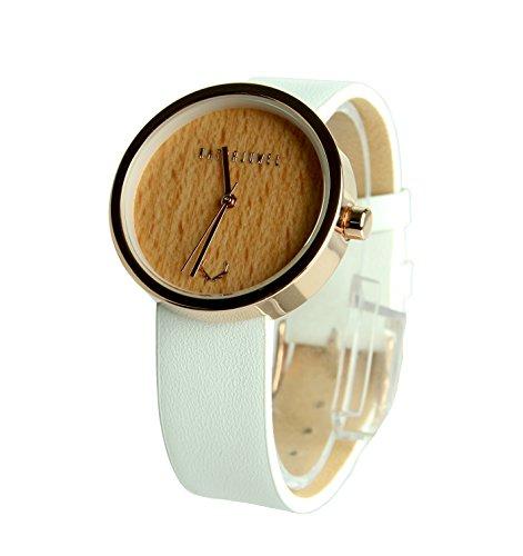 NATURJUWEL Design - Reloj de Pulsera Hecha a Mano de Madera Natural Especiales; Colores Oro Rosa con un auténtica Cuero Pulsera Blanca y con una Bonita Caja Mujer Hombre Unisex