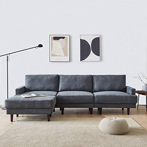 DADEA Ecksofa mit Schlaffunktion, Eckcouch Couch mit Schlaffunktion und Bettkasten Ottomane L-Form Schlafsofa Bettsofa Polstergarnitur, Modern Fabric Sofa, 3 Seater with Ottoman - 266cm