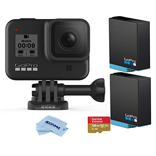 GoPro HERO8 Black, Waterproof Digital Sports and Action Camera with Touch Screen 4K UHD Video 12MP Photos, Essential Bundle with 2 Extra Batteries, 128GB microSD Card, Cleaning Cloth
