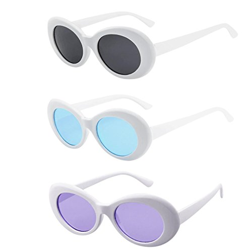 3 Packs Clout Goggles Unisex Sunglasses Rapper Oval Shades Glasses