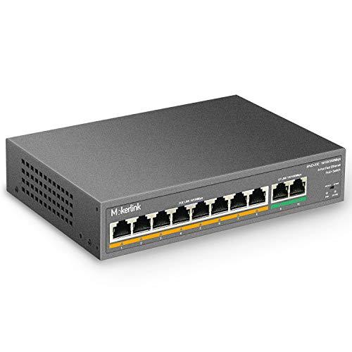 mokerlink Switch Poe 8 Porte, 2 Porte Gigabit Uplink, Poe Plus 802.3af at, 120W di Potenza Integrata, 250 Metri, Metal Plug & Play
