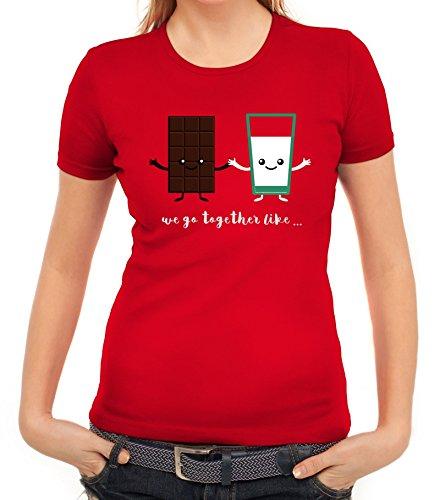 ShirtStreet Valentinstag Damen T-Shirt mit Chocolate + Milk Motiv, Größe: M,rot