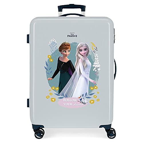 Disney Frozen Follow Your Dreams middelgrote koffer blauw 48 x 68 x 26 cm robuuste ABS-combinatieslot aan de zijkant 70 3 kg 4 dubbele wielen