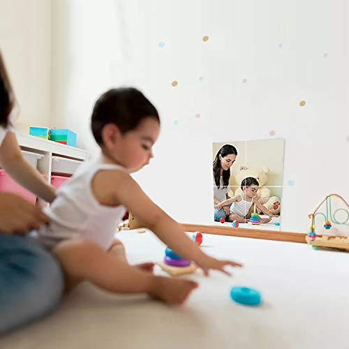 "12"" x 12"" Self Adhesive Acrylic Mirror Sheet, Non Glass Safety Mirror Great for Classroom Camping Baby Kids Playroom"