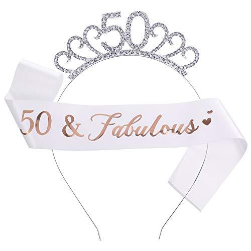 Rubywoo&chili 60.Geburtstag Kostm Satz,Geburtstag Schrpe mit Kristall Krone,fr Frauen Geschenke Zum 60 Geburtstag (50. Geburtstag Krone)