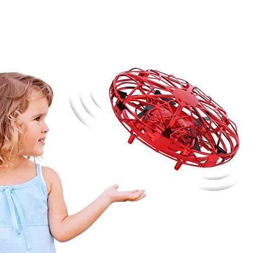 FORMIZON Mini UFO Drone, Mini Drone para Niños, Juguete Volador Helicóptero de Inducción, Accionado a Mano Juguete Bola Volador Interactivo de Inducción Infrarrojo, Regalo para niños y Adultos. (Rojo)