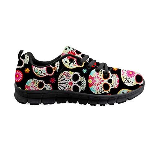 POLERO Zapatillas de Deporte con Cordones Zapatos de Caminar Ocasionales de Malla Transpirable Zapatillas de Carretera Zapatillas de Deporte Deportivas con Calavera para Mujer, 44 EU