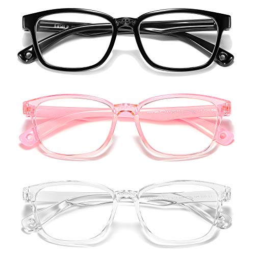 AHXLL Kids Blue Light Blocking Glasses 3 Pack, Anti Eyestrain & UV Protection, Computer Gaming TV Phone Glasses for Boys Girls Age 3-9 (Transparent Pink+ Transparent White+ Black)