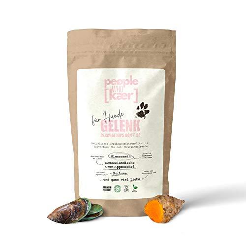 people who kaer for dogs + cats Natürliches Gelenkpulver Für Hunde mit Grünlippmuschel, Kurkuma, Glucosamin und Mangan Made in Germany Ergänzungsfuttermittel zur Unterstützung der Gelenke, 200g