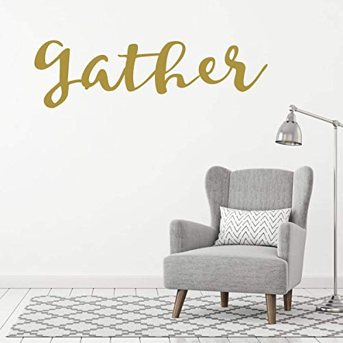 "CustomVinylDecor Large Living Room Wall Decor | Family and Friends Themed Home Wall Decoration |""Gather"" Sign Vinyl Art Decal"