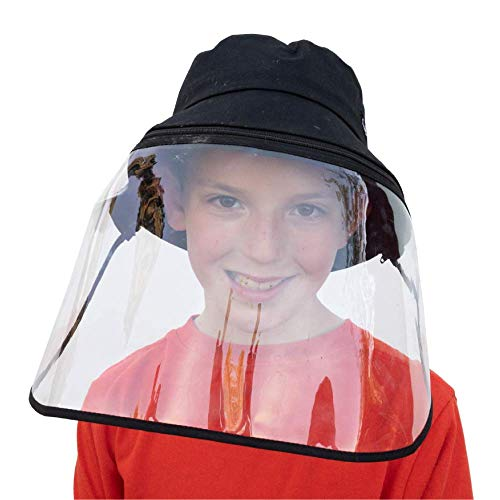 Little Bumper Cotton Bucket Hat with Detachable Face Shield, Comfortable Wide Brim Boonie Cap and Clear Plastic Screen, Dust and Outdoor Protection, Kids and Adults Sizes (S/M, Black)