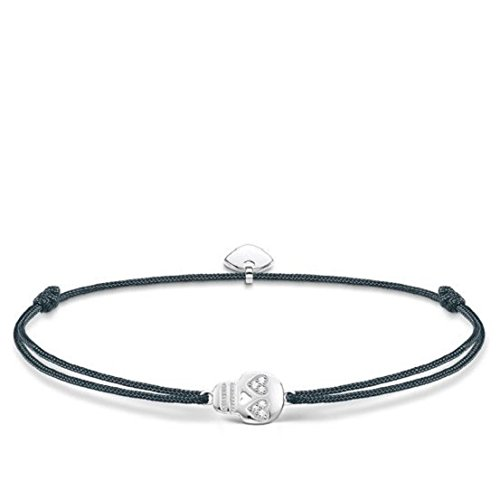 Thomas Sabo Damen-Armband Little Secret Totenkopf 925 Sterling Silber Grau weiß LS030-401-5-L20v
