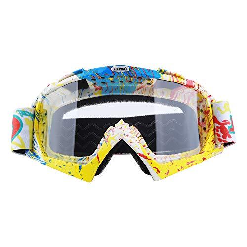 JIEPOLLY - Gafas de moto, anti-vaho, protección UV, motocross, Dirtbike, Off-Road MX Goggle para personas con gafas, B07