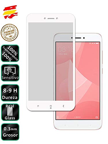 Movilrey Protector para Xiaomi Redmi 4X Color Blanco Completo 3D Cristal Templado de Pantalla Vidrio Curvo para movil