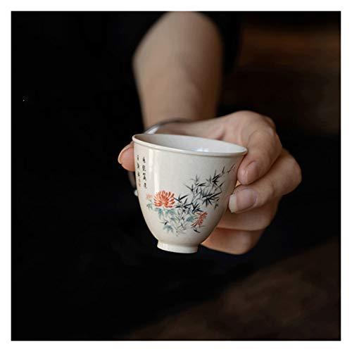 YANGYUAN Traditional Teacup, Handcraft Sake Tea Cups, Bamboo Pattern Hand-drawn Tea Cups, Ceramic Kungfu Tea Cup No Handles, Housewarming Gift