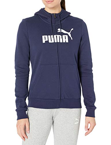 PUMA Damen ESSENTIAL LOGO HOODED JACKET Fleecejacke, Peacoat, Medium