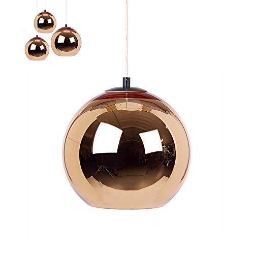 lampadario soggiorno pendente Moderna Palla di Vetro Lampada a Sospensione E27 Specchio Vetro Colorato Pendente Illuminazione Shade Decorazione Soggiorno Sala da Pranzo Chandeliers (Rame Rosso 25cm)