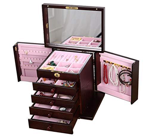 Sieradendoos, Retro met grote capaciteit, gespiegeld houten dressoir