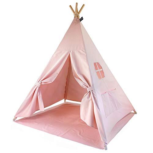 Hej Lønne Kinder Tipi, rosa Zelt, circa 120 x 120 x 150 cm groß, Spielzelt mit Bodendecke und Fenster, inkl. Beutel und Anleitung, für drinnen und draußen, schadstofffrei