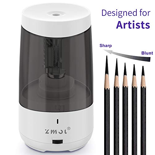 Long Point Pencil Sharpener for Artists,Heavy Duty Electric Pencil Sharpener,Rechargeable Pencil Sharpener for 6.5-8.5mm charcoal pencils & graphite pencils,5 Pencil Nib Options,Super Long Tip (WHITE)