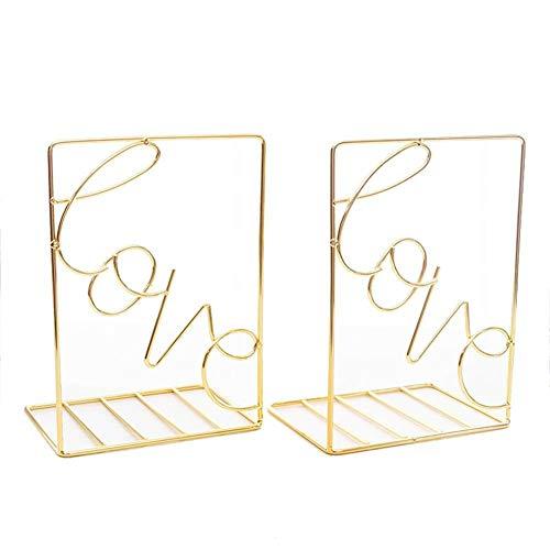 Cratone Buchstützen Metall Schwarz Buchhalter rutschfest Kratzfest Geometrisches Künstlerisches Design für die Organisation von Büchern Zeitschriften CDs usw 1 Paar Gold