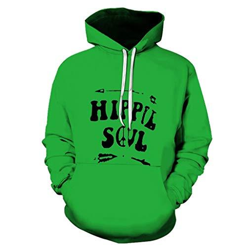 ZODOF Sudadera con Capucha 3D Impreso Manga Larga Gorra Guardia con Cuello Redondo Blusa Hoodie Sweatershirt Pullover Unisex Sudaderas con Capucha,Verde