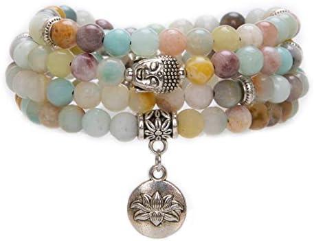 108 Mala Beads Bracelet - Genuine Gemstone Mala Prayer Beads Lotus Charm Meditation Necklace