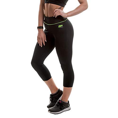 Musclepharm, Pantalones Capri para Mujer, Negro (Black/Lime), Small