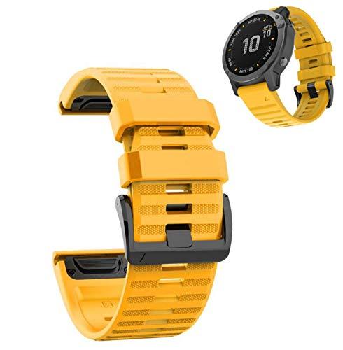 AINSS Reloj Inteligente Pulsera Deportiva Compatible con Garmin Fenix 6X 5X 3 d2 Tactix Bravo - Pulsera De Silicona De Repuesto Pulsera De Silicona De 26 Mm 【Amarillo】