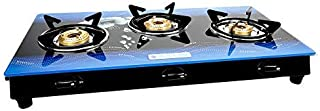 MILTON Premium 3 Burner Blue Glass Top LPG Stove, Manual Ignition with Brass Burner - (ISI Certified)