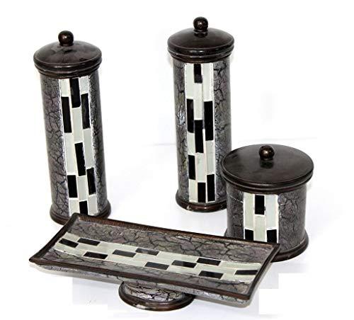 Juego DE TOCADOR - Accesorios auxiliares de Ceramica para el tocador Decorativo Vintage - 4 Piezas- Regalo