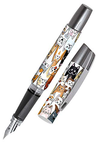 ONLINE Campus Fluffy Cats Fountain Pen for Right-Handers Ergonomic Grip Iridium Nib M Standard Ink Cartridges Including Blue Combination Cartridge Suitable for Allergy Sufferers