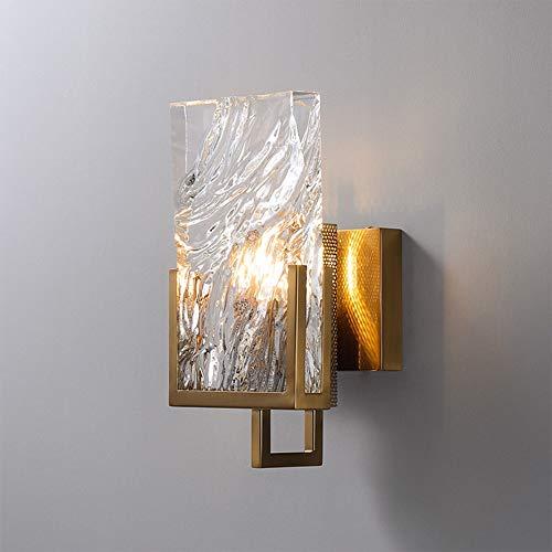 Luz de pared de cristal posmoderna, lámparas de pared geométricas de cobre, iluminación de pared Kits de ajuste para sala de estar de la sala de vestíbulo de la boda o decoración de la fiesta, E14 Lám