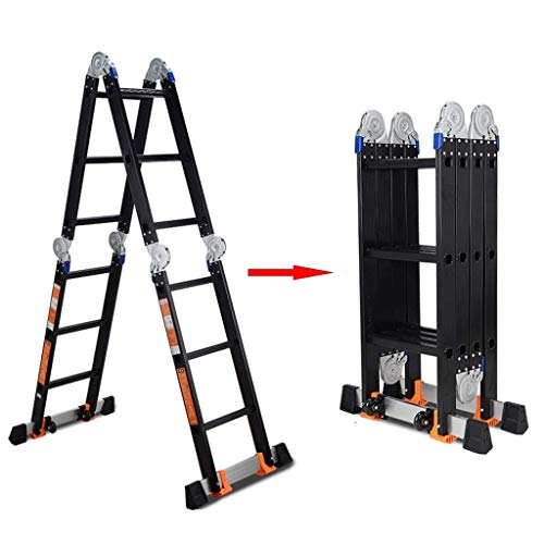 ZAQI Aluminium Telescopicing Ladders, Black Multi-Position Heavy Duty Scaffold Extendable Ladder for Rooftops Attic, 150kg (Color : 4mm, Size : Straight Ladder 3.6m)