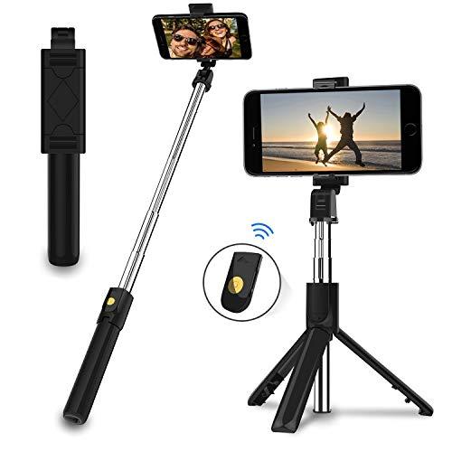 EasyULT Bastone Selfie Treppiede, 3 in 1 Estensibile Portatile Selfie Stick, Rotazione con Telecomando Wireless Rimovibile Bluetooth per iPhone/Huawei