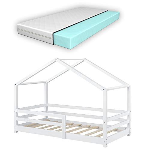 Kinderbett mit Matratze und Rausfallschutz 80x160cm Hausbett mit Kaltschaummatratze Bettenhaus mit Lattenrost Kiefernholz Kleinkindbett Weiß