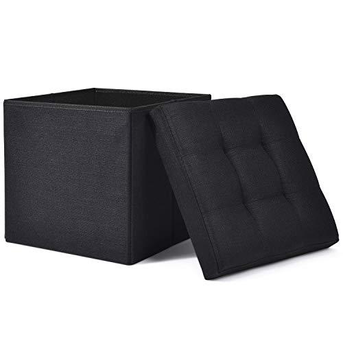 WoneNice Folding Storage Ottoman Cube Foot Rest Stool Seat (Linen Black)