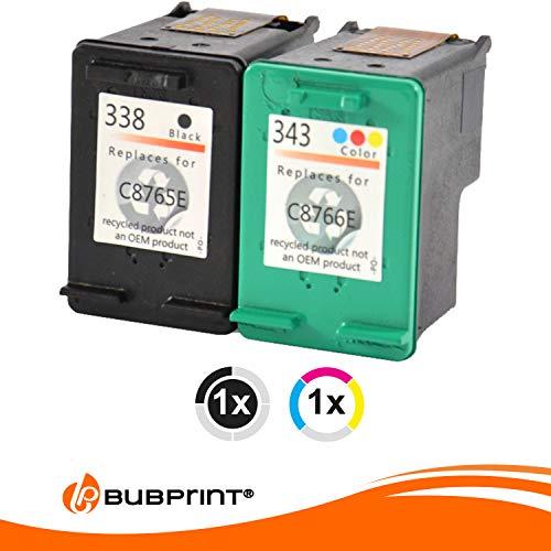 2 Bubprint Druckerpatronen kompatibel für HP 338 343 für Officejet 100 150 Mobile 7210 7310 H470 K7100 Photosmart 2575 2610 7850 8050 8150 8450 C3100